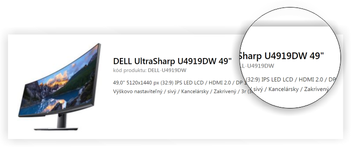 Označenie Dell monitoro
